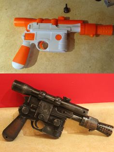 "Han Solo modded blaster DIY - cosplay ""dremeled off the TM junk and drilled out… Han Solo Cosplay, Han Solo Costume, Cosplay Diy, Cosplay Costumes, Cosplay Ideas, Hans Solo Costume Diy, Costume Ideas, Steampunk Weapons, Gothic Steampunk"