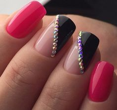 The neat bright manicure will nice look on the long thin nails. The nails are covered with bright red nail ...