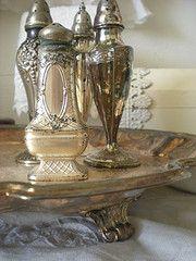 Vintage silver salt shakers.