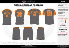 PITTSBURGH FLAG FOOTBALL black orange flag football uniforms jerseys shorts Flag Football, Football Design, Football Uniforms, Jersey Shorts, Pittsburgh, Soccer Uniforms