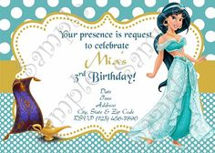 Princess Jasmine Birthday Party Invitation FREE Thank You Card Aladdin And