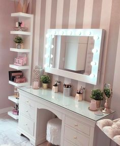 Make Up Room Decor Ideas The make-up room is one of the most special places in the house for ladies. They spend a long time in front of the mirror. - Make Up Room Decor Ideas — decoration Bedroom Decor For Teen Girls, Cute Bedroom Ideas, Cute Room Decor, Girl Bedroom Designs, Teen Room Decor, Room Ideas Bedroom, Makeup Room Decor, Makeup Rooms, Vanity Room