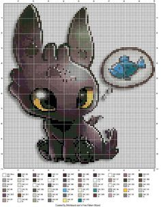 Artwork credit: http://www.deviantart.com/art/Tiny-Toothless-350145861  Cross stitch pattern of Toothless from How to Train Your Dragon