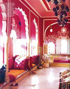 Pink living room in Liza Bruce and Nicolas Alvis Vega's Indian Apartment