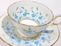 Harebell Coalport Tea Cup and Saucer, Hand Painted Tea Cups, Tea Set, English Bone China Cups, Antique Teacups, Vintage Tea Party