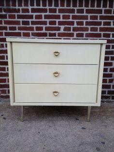 Vintage Danish Modern Dresser Three Drawer in White