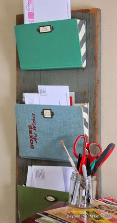 Turn old books into mail organizers... Beyond The Picket Fence: Girlfriend's Weekend DIY Inspiration