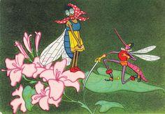 "Postcard Illustration by Valgin for Chukovsky book ""Fly Tsokotukha"" - 1956, Soviet Artist by RussianSoulVintage on Etsy https://www.etsy.com/listing/113828965/postcard-illustration-by-valgin-for"