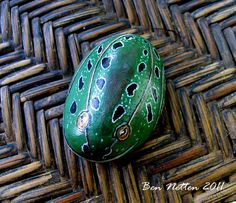 Original Hand Painted Frog on a Rock Acrylic Animal Pet Art Painting