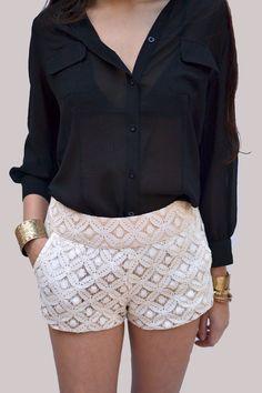 Crochet Flower Shorts in Cream - New Age Queen