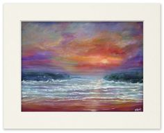 Items similar to Beach Sunset - A signed & mounted digital reproduction of an original painting by Stephen Shaw on Etsy Sunset Art, Sunset Beach, Irish Art, Close Image, Fundraising, I Shop, Waterfall, Original Paintings, Landscape
