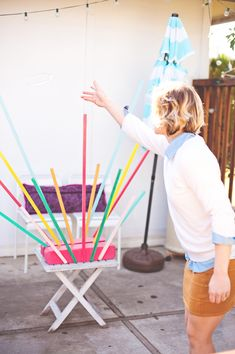 Colorful yard toss game