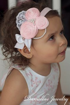 Pink Vintage Headband/Child Headband /baby Girl Headband /Photo prop Headband