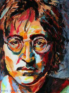 John Lennon Original Acrylic & Oil Portrait Painting by Artist Derek Russell 2012 Abstract Portrait Painting, Portrait Acrylic, Oil Portrait, Artist Painting, Painting Frames, Famous Portrait Artists, Famous Portraits, Inspiration Art, Art Inspo