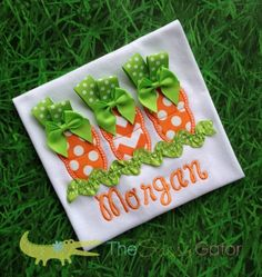 EASTER CARROTS with BOWS Personalized Applique by TheSassyGator, $24.99