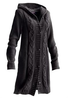 Plus Size Long Hooded Cardigan