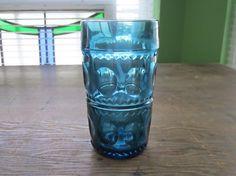 On Sale Vintage Blue Kings Crown Glass Three by FunkeysFinds Mould Design, Kings Crown, Carnival Glass, Vintage Glassware, Teal Blue, Tumbler, Mason Jars, Drinking, Conditioner
