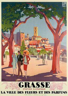 Vintage Travel Poster - South of France - Grasse Heart of Scents! Poster Vintage, Vintage Travel Posters, Vintage Ski, Style Vintage, South Of France, Lyon, Retro, Graphic Art, Illustration