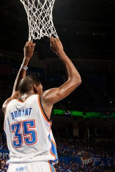 Kevin Durant of the Oklahoma City Thunder pulls on the net while playing against the Houston Rockets in Game Five of the Western Conference Quarterfinals during the 2013 NBA Playoffs on May Get premium, high resolution news photos at Getty Images Westbrook Nba, Russell Westbrook, Kevin Durant Sneakers, Durant Nba, Nba Sports, Indiana Pacers, Derrick Rose, Nba Playoffs, Larry Bird