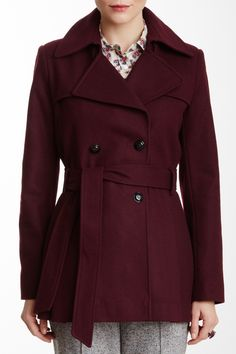 Via Spiga Double Breasted Wool Blend Trench Coat on HauteLook