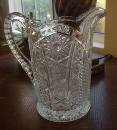 Vintage Large Pressed Glass Pitcher  Holiday by 4HollyLaneAntiques