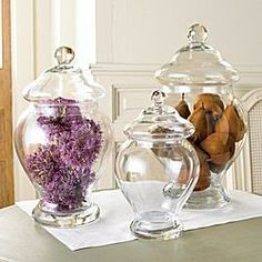 Today I will be talking about Apothecary Jars. These are usually made of glass and have a lid. Antique Bottles, Vintage Perfume Bottles, Bottles And Jars, Glass Jars, Coffee Table Vignettes, Jar Fillers, The Bell Jar, Bell Jars, Candy Jars