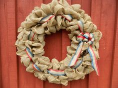 Patriotic Burlap Wreath Red White and Blue by LakeCountryAntiques