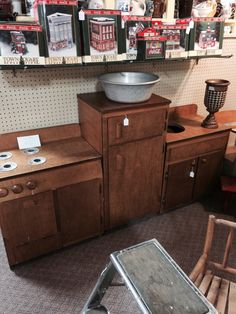 This is a vintage child's kitchen, well made, like used in Kindergartens, $135 from dealer 103. Jesse James Antique Mall has two huge rooms full of great furniture, decor and collectibles...plus the finest antiques all being brought in daily by our 150 dealers! We have been voted The Best Antique Mall in St. Joseph for 5 years running! Come in and see why! We are open EVERYDAY 9-6! Please call with questions intersection of I-29 and 71. We accept credit cards and debit.