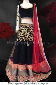 Bollywood Actress Gorgeous net lehenga in black and red color