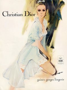 Illustration by  Pierre Couronne, 1967,  Christian Dior Lingerie.