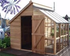 Half garden shed and half greenhouse.