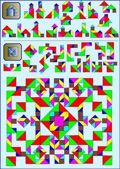 Puzzelen met ronde en vierkante tangrams - Vierkante tangram - Pagina KV11