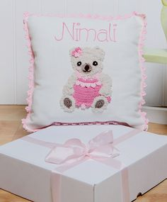 Personalised Teddy Bear Girl Cushion
