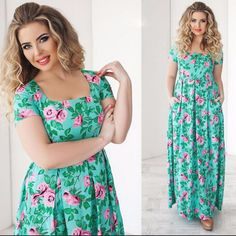Hp 8/9 <3 Boutique Maxi Floral Dress Teal & Pink