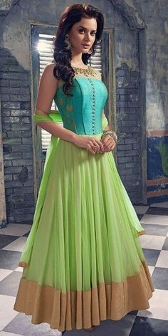 Dynamic Sky Blue And Green Georgette Designer Anarkali Suit With Dupatta