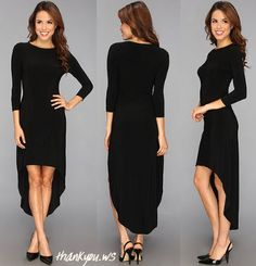 Rochie asimetrica care atrage privirea KAMALIKULTURE 3/4 Sleeve Crew Neck High-Low Dress Dresses For Work, Fashion, Moda, Fashion Styles, Fashion Illustrations, Fashion Models