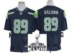 Nike Seattle Seahawks 89 Doug Baldwin Blue Elite 2014 Super Bowl XLVIII NFL Jerseys