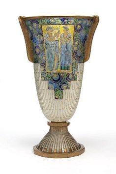 Auguste Heiligenstein, Vase, blown glass, acid etched handles, translucent enamel, gilt, France, 1933, view 2