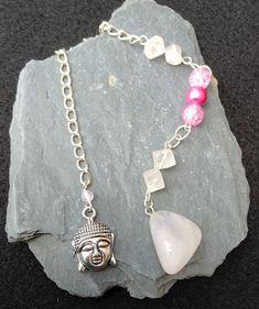 Rose Quartz with Buddha Crystal Pendulum, Divination, Dowsing Pendulum,Chakra Pendulum, Love, Compassion and Handcrafted