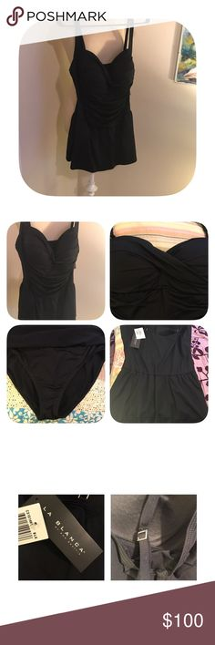 ⭐️Newly listed⭐️ La Blanca swim dress 16 NWT La Blanca by Rod Beattie swim dress size 16. Black ruched top with light padding inside. Straps are adjustable. Lovely suit with a vintage appeal. La Blanca Swim One Pieces
