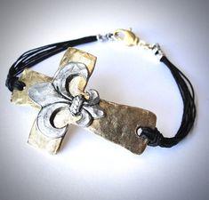 NEW - Gold Pewter Sideways Cross and Fleur de Lis bracelet