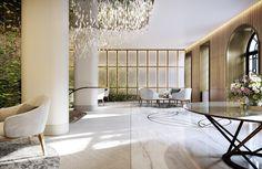 Mayfair Park Residences — Recent Spaces - London-Based Architecture & Design Rendering Agency Lobby Interior, Interior Architecture, Mayfair, Bar Interior Design, Space Projects, 3d Projects, 3d Architectural Visualization, Hospitality Design, Restaurant Design