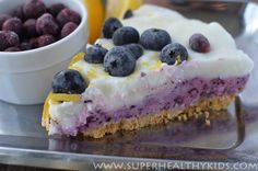 Layered Frozen Yogurt Blueberry Lemon Pie | Healthy Ideas for Kids