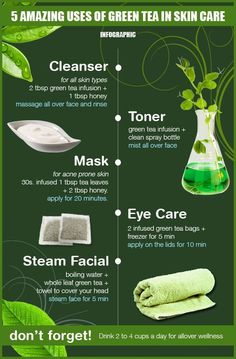 Green tea beauty hacks. #Tea #GreenTeaBenefit