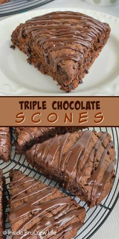 Chocolate Scones - these soft and flakey brownie scones are the perfect b. Triple Chocolate Scones - these soft and flakey brownie scones are the perfect b. Köstliche Desserts, Chocolate Desserts, Chocolate Lovers, Dessert Recipes, Easy Chocolate Recipes, Triple Chocolate Mousse Cake, Chocolate Work, Chocolate Pastry, Chocolate Truffles