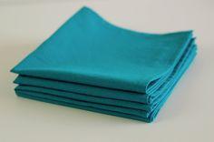 "Organic Cotton Table Napkins 12"" square Set of 4 / Everyday Napkins / Small Napkins / Aqua Solid by SUZUYA on Etsy"