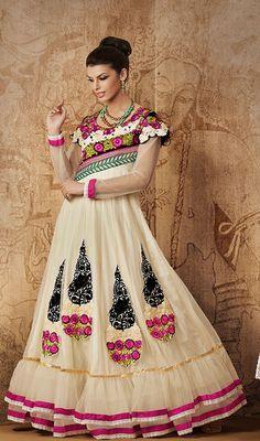 Cream Net Floor Length Anarkali Churidar Suit Price: Usa Dollar $129, British UK Pound £76, Euro95, Canada CA$140 , Indian Rs6966.