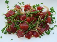 Kahuku Sea Asparagus Ahi Poke - seasoned with Shoyu, Mirin, Sesame Oil and Togarashi This is just a little follow-up to the last post featuring Kahuku sea asparagus, this time turning it into ahi and tofu poke, as two separate…
