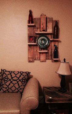 Pallet Floating Shelf Display #PalletShelf, #RecycledPallet