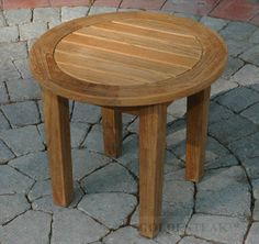 """Teak Occasional Table Round 18.5"""" Dia, 17""""H - Millbrook Collection"""